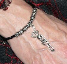 Skeleton Bracelet Adjustable Black Faux Leather Thong Goth Horror Halloween Gift