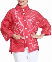 IC by Connie K Womens Jacket Red Medium M Geo Burnout Asymmetrical Hem $158 866