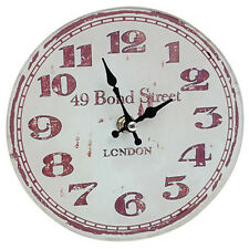 Vintage Style Shabby Chic Glass Kitchen Wall Clock - Bond Street London