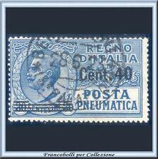 1925 Italia Regno Posta Pneumatica Soprastampato c. 40 su 30 azzurro n. 7 Usato
