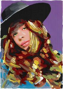 original painting 20 x 29 cm 226BJ art samovar modern acrylic female portrait