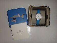 FOSSIL Womens Mini Watch Carissa BQ3147 Silver Steel Blue Leather Band Crystals