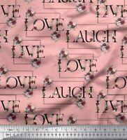 Soimoi Cotton Poplin Fabric Floral Love Text Fabric Prints By metre-zeN