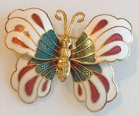broche vintage papillon en relief couleur or émail cloisonné de couleur 271