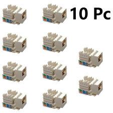 10 Pcs RJ45 CAT5e Keystone Jack Network Ethernet Clip Module Wall Plug Connector