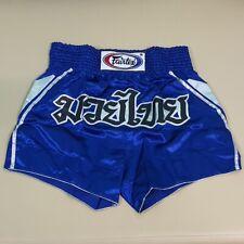 SHORTS FAIRTEX MUAY THAI FIGHT KICK BOXING MMA BLUE 2XL XXL SATIN HEAVY WEIGHT