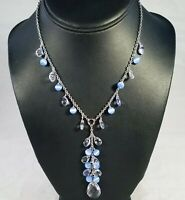 NEW w TAG COOKIE LEE Silver Blue Cats Eye Crystal Y Drop Necklace | NWT 25377