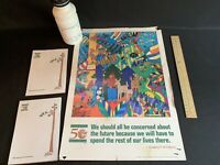 Smokey Bear Vintage Notepad 50 Year Celebration Poster Ruler Water Bottle Lot
