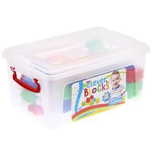 Tub Of 50 Building Blocks Boys Girls Kids Age 18+ Months Large Plastic Pieces!