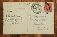 1909 USA United States Postcard to Jerusalem Palestine Austrian Post Office Pmk