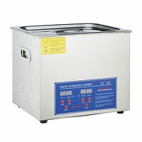 New Stainless Steel 10L Industry Heated Ultrasonic Cleaner Heater w/Timer New