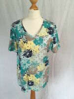 Ladies Damart Size 10-12 Blue Floral T-shirt Short Sleeve Casual Top V-Neck S/M