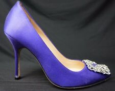 Manolo Blahnik Hangisi Jeweled Pump Purple Satin Shoes Size 37 EU / 7 US $995