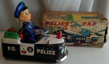 1950's Battery Operated Police Car w Box Masudaya Japan Toy Original Tin works