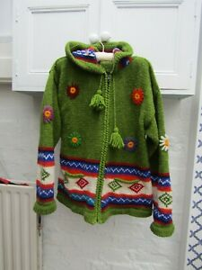 Hippy festive Pachamama style, cardigan/jacket zip front and hood size M/L