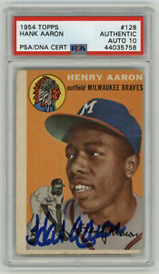 1954 BRAVES Hank Aaron signed ROOKIE card Topps #128 PSA/DNA AUTO 10 Perfect Sig