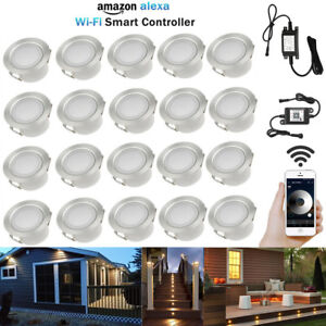 20X WIFI Control Dimmer Timer 45mm Warm White LED Deck Stair Step Plinth Lights