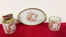 Limoges France 3 Pc Porcelain Oval Plate, Cup Matching Lighter Set Gold Peacock