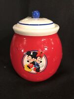 WALT DISNEY Minnie And Mickey Mouse Cookie Jar Candy Canister Red & Blue W/ Lid