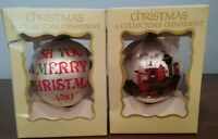 Lot Of 2 Vintage A Collector's Christmas Tree Glass Ornaments By George Good