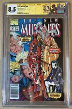 New Mutants 98 Mark Jeweler Insert   Deadpool CGC 8.5 WP! RARE! Signed by Fabian