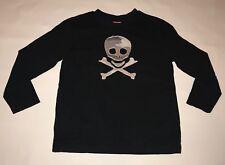 Boys Skull Crossbones Applique Halloween T-Shirt Long Sleeve Shirt Black S 4 5