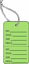 Garment Tag Small Light Green Color With String 1000 Tags Pack 125 X 18