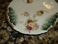 Vintage Weimar Germany Dish-Floral Design-Gold Trim Green Rose Roses 6 inch