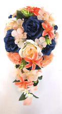 17 piece Wedding Bouquets Bridal Silk Flowers Package PEACH NAVY Blue CORAL Lily