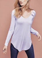 NWT Anthropologie Lace Line Tee SMALL Lavender By Deletta Women's Top Tunic