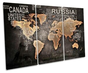 Distressed World Map Print TREBLE CANVAS WALL ART Picture Grey