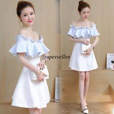 Korean Women Summer Evening Party Empire Waist Slim Tunic Bubble Short Dress XL