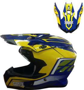 PULSE MOTOCROSS MX ENDURO QUAD OFF ROAD HELMET- PX3 BLUE WITH REPLACEMENT PEAK