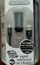 Wireless Gear Rapid Universal Car Charger, Sync & Charge Cable, Black