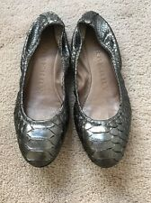 Burberry Gray Python Snakeskin Leather Ballet Flats Made In Italy Sz 37.5