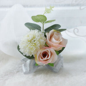 Artificial Wrist Flower Rose Wedding Bridal Corsage Hand Flower Cute Great