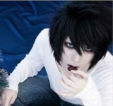Black DEATH NOTE L·Lawliet Short Layered Hair Cosplay Party Wig+Wig Cap