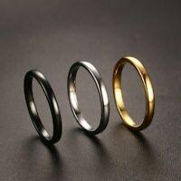 Schmaler Damen Ring Wolfram Carbid Tungsten 51 - 65 schwarz poliert