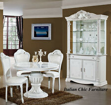 Prestige 2 Door Italian Made Display Cabinet White with Crystals