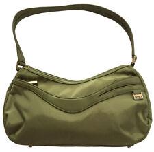 "TUMI Crescent Hobo Shoulder Bag Olive Green Nylon & Leather Zip Top 13"" W x 7"" H"