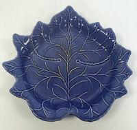 Handmade Studio Pottery Vintage Ceramic Blue Leaf Shape Plate