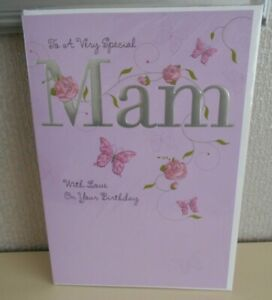 To a very Special Mam With Love on your Birthday - Floral Butterflies card - Mam