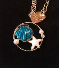 Betsey Johnson  Starfish blue Shell Crystal Pendant Chain Necklace