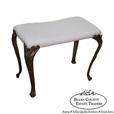 Antique French Style Iron Bench w/ Leather Seat