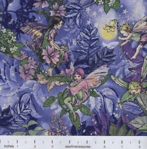 Flower Fairies Night Fairy Allover Purple Michael Miller Fabric By the FQ 1/4 YD