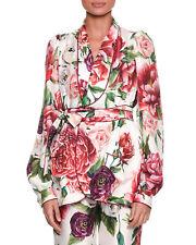 e5f02dd5 New DOLCE & GABBANA Women's Peony Rose Belted Silk Pajama Top Jacket ...