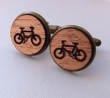 Bicycle Bike  Vintage Style Wood Mahogany Cufflinks Antique Brass
