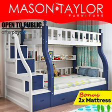 Mason Taylor Bunk Bed Frame w/ Mattresses 6 Drawers Bunk Beds 245*120*170cm