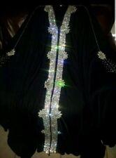 WOMANS LUXURY WEDDING BLACK CRYSTALLIZED ABAYA DUBAI KAFTON EID HENNA GORGEOUS!!