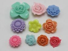 50 Assorted Pastel Color Acrylic Flower Beads Charms